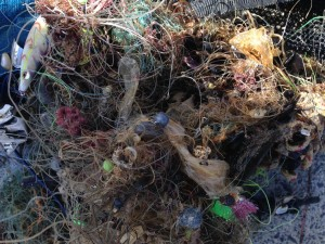 A tangled mess of fishing line, lures and hooks