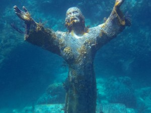 The Christ Statue Still shines bright amongst a relatively unaffected Elbow Reef