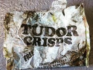 An old Tudor Crisps packet found in the quarry thought to be over 25 years old!