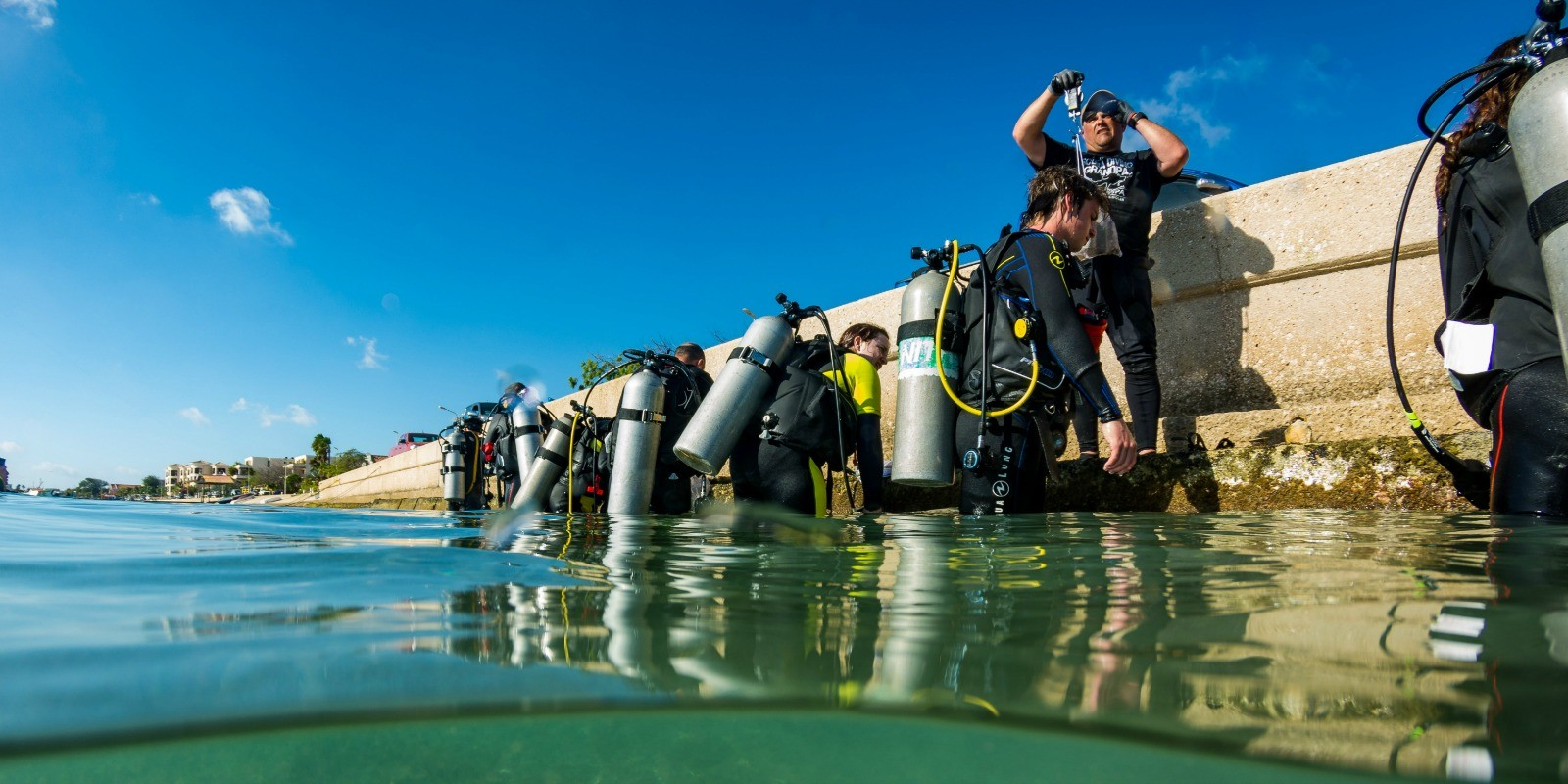 Divers Preparing for Marine Debris Survey