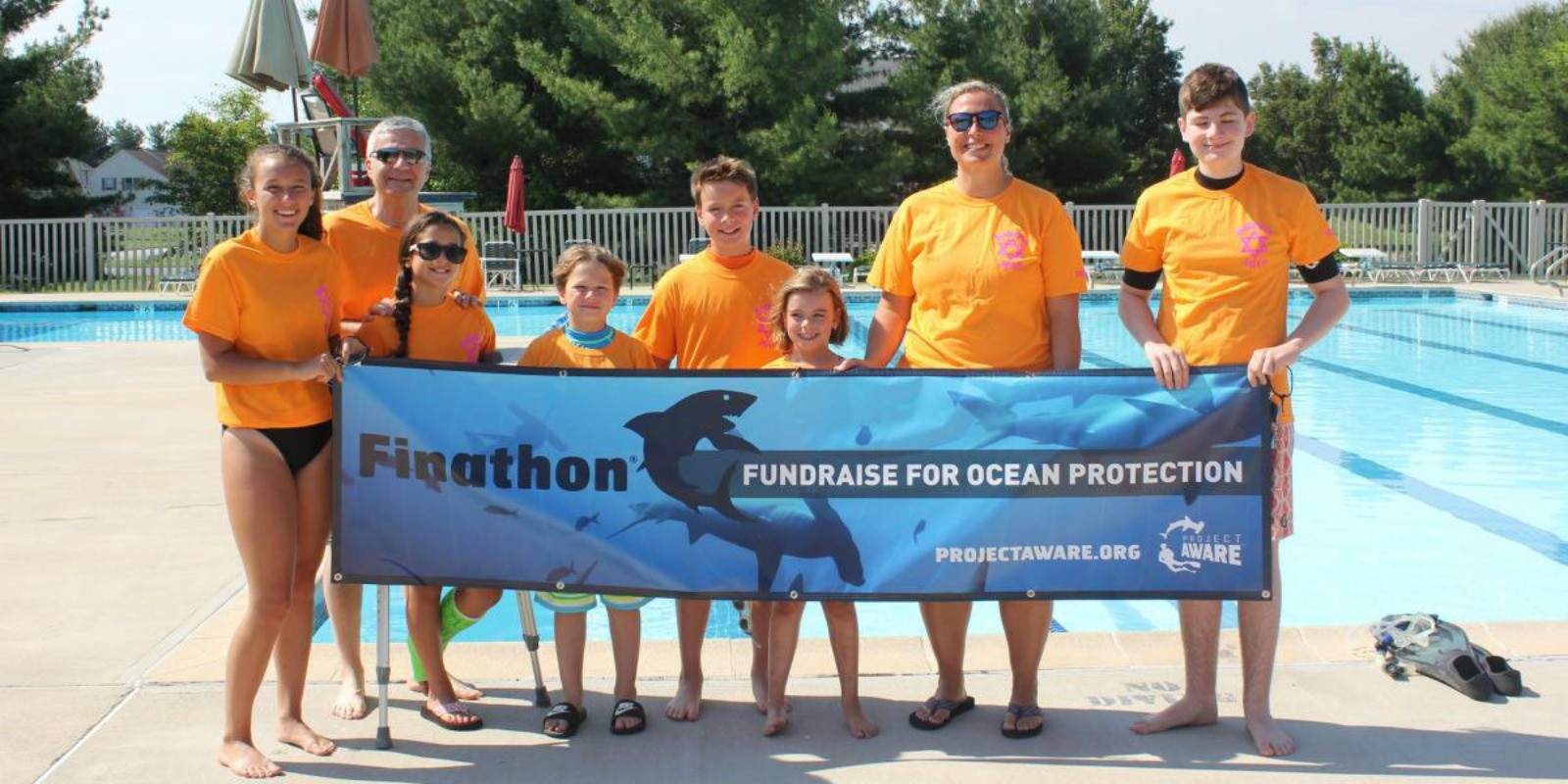 Finathon Team with Banner