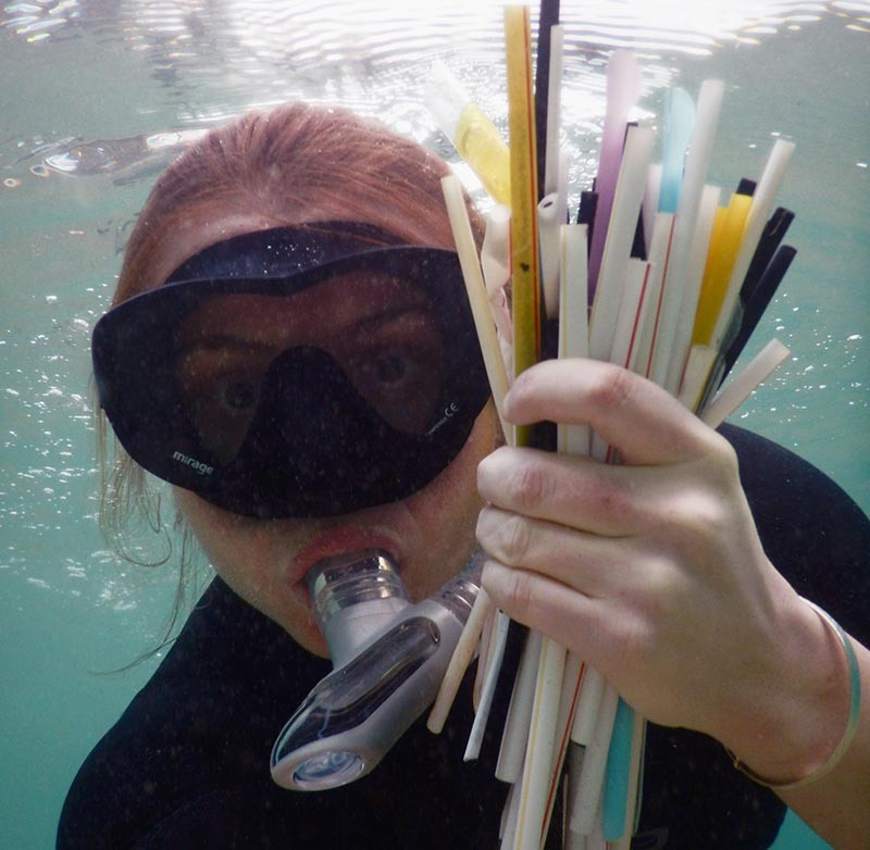 Image of plastic straws collected by diver