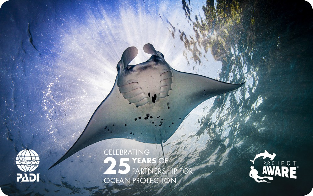 image of PADI limited edition card Project AWARE manta ray