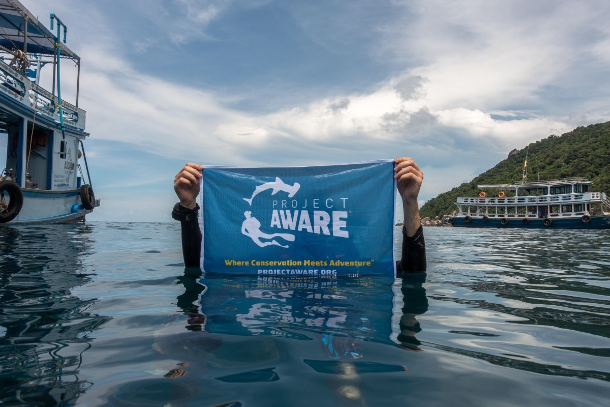 Project AWARE flag in water