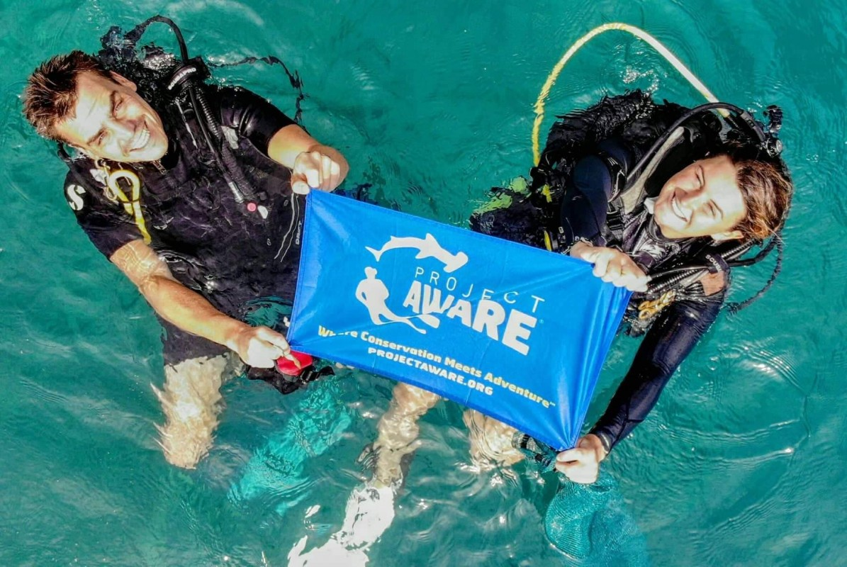 image of diver with project aware flag