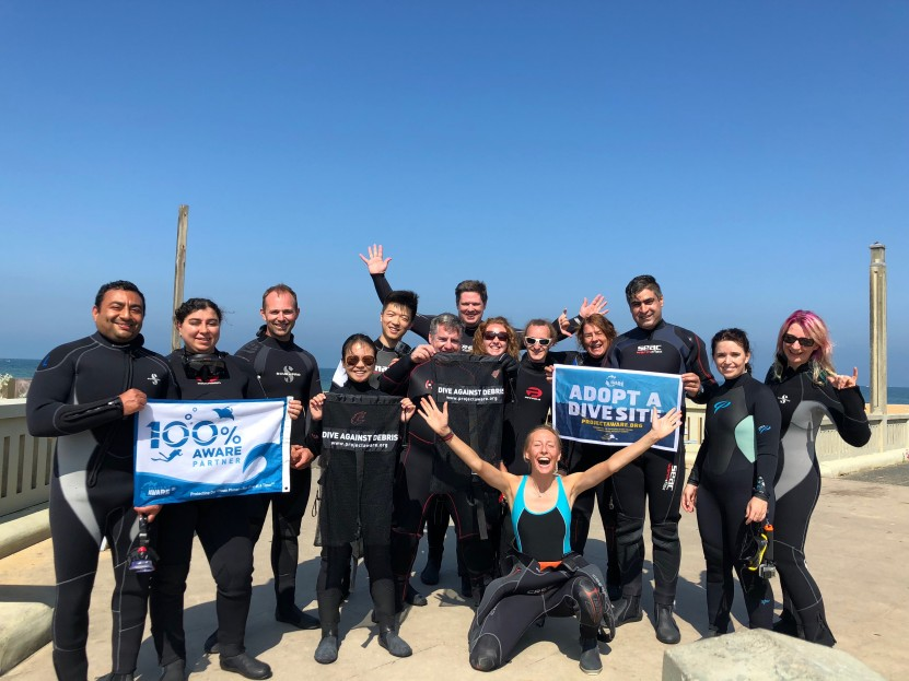 Academy of Scuba Dive Against Debris team before their clean up dive on 27th January 2018